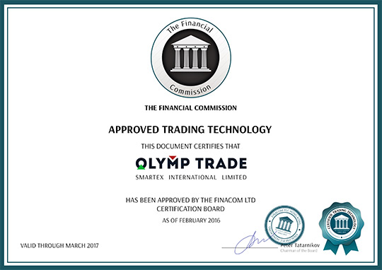 certificate olymptrade