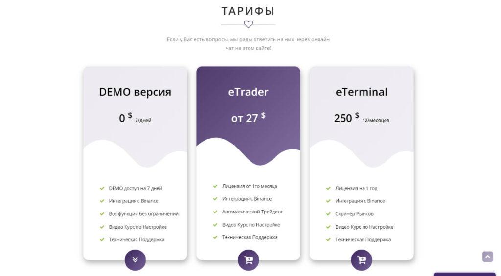 Тариф. EasyTrading – автоматизированная платформа